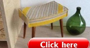≥ Vintage retro kruk met wollen deken zitting - Krukken en Barkrukken - Marktp...