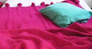 Moroccan POM POM Wool Blanket - Pink