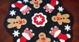 """19"""" Christmas Wool-Felt Primitive Folk Art Penny Rug Hand Applique Table Candle Mat-Gingerbread-Stockings-Peppermint Candy-Snowflakes-ofg"""