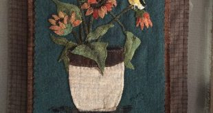 """NEW wool applique pattern """"Fall flowers and finch"""" is the third of my four season set"""