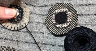 Blanket Stitching wool penny for Black Licorice Penny Rug by Rose Clay at ThreeS...