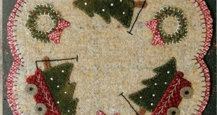 Christmas Red Wagon Table Mat Pattern - Wool Applique Patterns - Winter Decor - Christmas Decor #BMB 1488