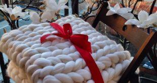 Chunky Knit Merino Wool Blanket, Wool Blanket Queen, Wool Blankets Throw, 100% Wool Blanket, Mothers