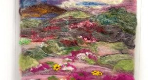Field of Dreams -Colorful Felted Wool Painting Field of Flowers