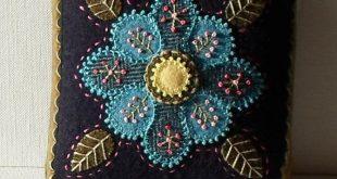 Handmade Needle Cushion Felted Wool Blue Blossom Pincushion