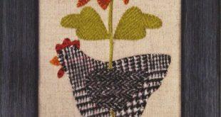 Henny Penny Pattern #ATN 1416 - Hen Chicken with Sunflower Wool Applique Pattern