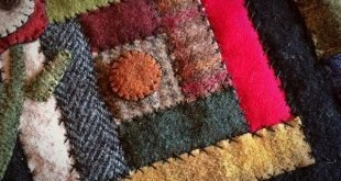 Log cabin block in recycled wool. #pennyrug #woolapplique #wool #handmade #quilt...