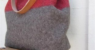 Medium Swiss Army Wool Blanket Bag- Shopping Bag- Personalized-Taupe Red stripe - Leather-military industrial-great gift