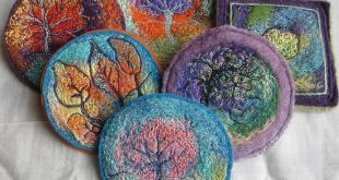 More felted wool roving projects.  Awesome!! Embellished, Embroidered, Stitched ...