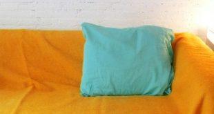 Moroccan POM POM Wool Blanket - Light Orange- Small