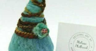 "Needle Felted Wool Gnome ""Simon"" Folk Art Doll Melissa Philbrook OOAK Made USA #..."