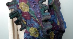 Outstanding wet felted scarf, artistic hand made scarf, bohemian accessory, handmade from soft merino wool and silk, colorful art scarf