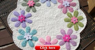 ~Primitive Spring Candle Mat...wool felt Flowers.....PeNNy RuG.....colorful....~