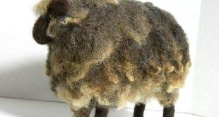 Raw Wool Needle Felted Curly Locks Sheep