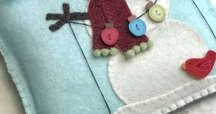 Snow Many Buttons Wool Appliqué