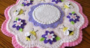 """Spring Bumblebee Sparkle #2"" ~ 11"" Penny Rug ~ Candle Mat ~ Wool Felt ~ Prim"