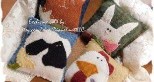 Spring Critters - Wool or Wool Felt Applique Bowl Fillers Epattern by Diane Knott LLC - EASY to Adva