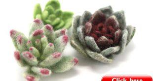 Succulents, Set of Three Felted Wool Succulents, Gift, Wedding Centerpiece Decor, Succulent Art, Spring Decor