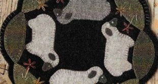 Wool Applique Pattern, Sheep Penny Rug, Wool Candle Mat, Buttermilk Basin, Pattern Only