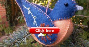 Wool Felt Bluebird Ornament, Felt Bird Ornament, Embroidered Bluebird Decoration, Felt Ornament, Folk art Bluebird
