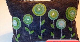 Wool Felt Penny Rug Flower Pillow, Hand Dyed Wool Felt Pillow, Throw Pillow, Penny Rug, Spring Decor, OFG, FAAP, Green Pillow, Circles