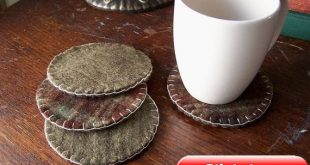Wool Felt Plaid and Green Coasters- Reclaimed