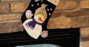 Wool applique Christmas stocking