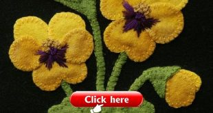 """Wool applique PDF e-PATTERN """"Yellow Pansies"""" one block of 24 """"Four Seasons of Flowers"""" table runner bed runner wall hanging wool quilt rug"""