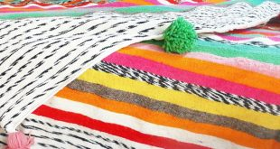 Moroccan Wool Blanket - Multicolored Stripes