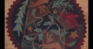 APOW940 - A CHRISTMAS CANDLE MAT - A Piece of Work Wool Applique Pattern