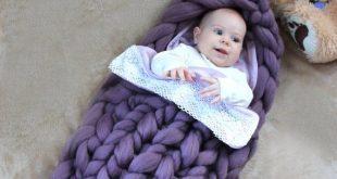 Baby Sleep Warm Bag Knit Merino Wool. Newborn Case Knitted Wool Cocoon