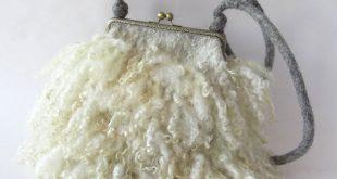 Crossbody Felted handbag Grey Cream Real Fur curly locks purse raw wool Free curly bag gift for her by Galafilc outdoors gift