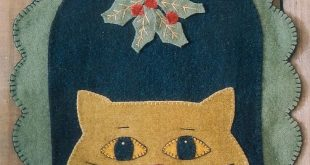Details about PRIMITIVE WOOL APPLIQUE PENNY RUG PATTERN CAT KITTY MISTLETOE CHRISTMAS *NEW