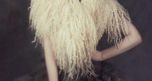 Felted scarf collar - fur white cream wedding raw wool curly locks