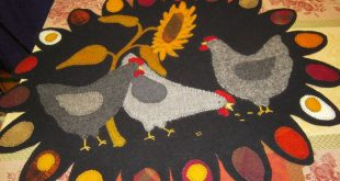 Free Wool Penny Rug Patterns | Wool Chicken Penny Rug Sunflower & Chickens Kit W...