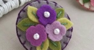 Items similar to Cluster of flowers in Purples Wool Felt Baby Snap Clip ( Small)...