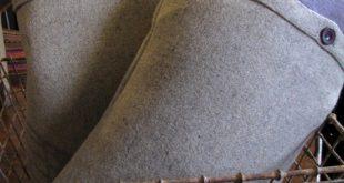 Purple and grey vintage wool blanket cushions