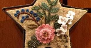 Reserved for Michelle-Wool Applique Floral on a Primitive Star