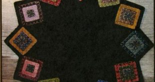 Squared Up Table Mat- pattern- Primitive Gatherings by Lisa Bongean -Primitive, Wool Applique, candle mat, topper, precut friendly #942