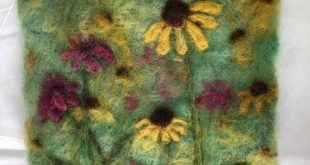 Summer Flowers - -Felted Wool Landscape Painting