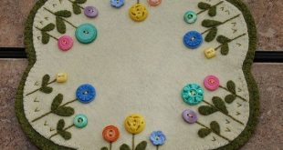 Vintage Button Flower Penny Wool Candle Mat by ThePetiteStudio