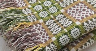 Vintage Welsh Caernarfon reversible wool blanket in browns greens and yellows circa 1960's