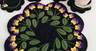Viola Table Mat and Coasters Wool Applique Pattern - CPD #186