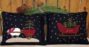 Winter Wool Applique Pillow Pattern, Joy Sleigh and Christmas Sheep Cart #SU110