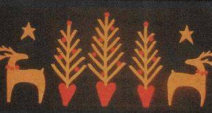 Wool Applique Pattern, Deer Heart, Christmas Decor, Wool Applique Table Runner, Primitive Decor, A Piece of Work Designs, PATTERN ONLY
