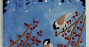 "Wool Applique Pattern Kit Christmas ""Just Starting to Snow Again"" wall hanging winter folk art snowflake chickadees bird"