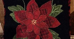 Wool Applique Pattern - Little Poinsettia Pillow - Choice of Pattern Only or Pattern with Wool Kit