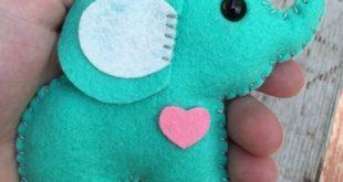 Wool felt elephant christmas ornament, keychain, mobile attachment, car mirror ornament, plush toy / stuffie - mint leaf