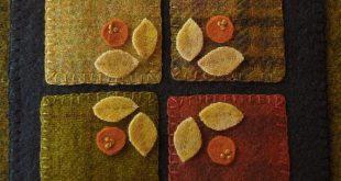 Wool folk art applique primitive penny rug by HorseAndBuggyCountry
