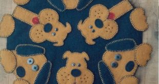 Details about PRIMITIVE WOOL APPLIQUE PENNY RUG PATTERN DOG PUPPY PAWS *NEW